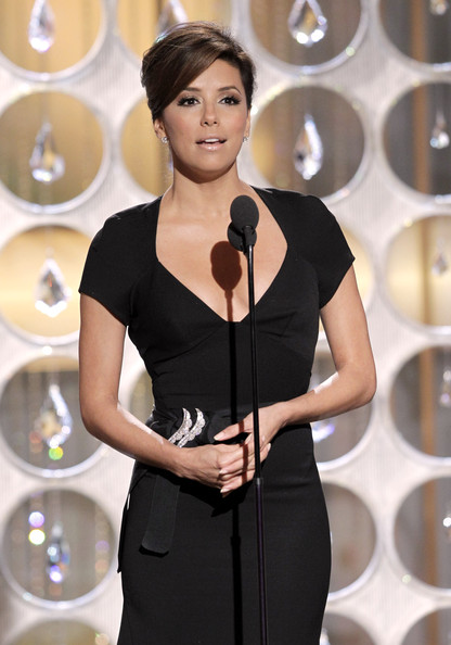 In this handout photo provided by NBC, Presenter Eva Longoria speaks onstage during the Golden Globes at the Beverly Hilton International Ballroom on January 16, 2011 in Beverly Hills, California.