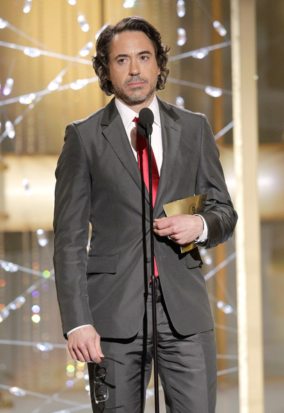 In this handout photo provided by NBC, Presenter Robert Downey Jr. speaks onstage during the Golden Globes at the Beverly Hilton International Ballroom on January 16, 2011 in Beverly Hills, California.