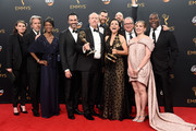 """(L-R) Actors Sarah Sutherland, Gary Cole, Sufe Bradshaw, Reid Scott, Matt Walsh, Timothy Simons, Julia Louis-Dreyfus, Tony Hale, Kevin Dunn, Anna Chlumsky and Sam Richardson, winners of Best Comedy Series for """"Veep"""", pose in the press room during the 68th Annual Primetime Emmy Awards at Microsoft Theater on September 18, 2016 in Los Angeles, California."""