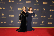Jessica Lange (L) and Susan Sarandon arrive for the 69th Emmy Awards at the Microsoft Theatre on September 17, 2017 in Los Angeles, California. / AFP PHOTO / Mark RALSTON