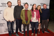 """Josh Waller, Daniel Noah, Elijah Wood, Lisa Whalen, Hannah Pillemer and Michael Moran attend the screening of """"7 Stages to Achieve Eternal Bliss By Passing Through The Gateway Chosen By the Holy Storsh"""" during the Tribeca Film Festival at SVA Theatre on April 20, 2018 in New York City."""