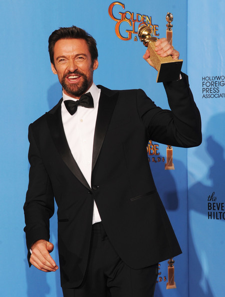 "Actor Hugh Jackman, winner of Best Actor in a Motion Picture (Musical or Comedy) for ""Les Miserables,"" poses in the press room during the 70th Annual Golden Globe Awards held at The Beverly Hilton Hotel on January 13, 2013 in Beverly Hills, California."