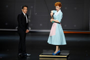 Ben Stiller speaks next to a statue of Lucille Ball onstage during the 71st Emmy Awards at Microsoft Theater on September 22, 2019 in Los Angeles, California.