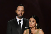(L-R) Tony Hale and Julia Louis-Dreyfus speak onstage during the 71st Emmy Awards at Microsoft Theater on September 22, 2019 in Los Angeles, California.
