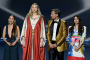 (L-R) Emilia Clarke, Gwendoline Christie, Nikolaj Coster-Waldau, and Carice van Houten speak onstage during the 71st Emmy Awards at Microsoft Theater on September 22, 2019 in Los Angeles, California.