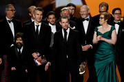 D. B. Weiss (C, speaking), David Benioff (3rd L) and cast and crew of 'Game of Thrones' accept the Outstanding Drama Series award onstage during the 71st Emmy Awards at Microsoft Theater on September 22, 2019 in Los Angeles, California.