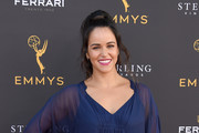 Melissa Fumero arrives at the 71st Los Angeles Area Emmy Awards at Television Academy's Wolf Theatre at the Saban Media Center on July 27, 2019 in North Hollywood, California.