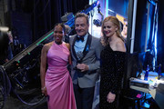 Regina King, Bryan Cranston and Laura Linney pose backstage at the 73rd Annual Tony Awards at Radio City Music Hall on June 09, 2019 in New York City.