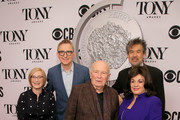 (L-R) The Broadway League Chairman Thomas Schumacher, American Theatre Wing President and CEO Heather Hitchens, Terrence McNally, American Theatre Wing Chairman David Henry Hwang, and The Broadway League President and CEO Charlotte St. Martin attend The 73rd Annual Tony Awards Meet The Nominees Press Day on May 01, 2019 in New York City.