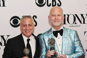 "(L-R) David Stone and Ryan Murphy, winners of the award for Best Revival of a Play for ""The Boys in the Band,"" poses in the Press Room at the 73rd Annual Tony Awards -  at Radio City Music Hall on June 09, 2019 in New York City."