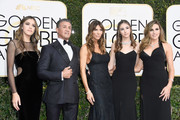 Actor Sylvester Stallone (2nd L), model Jennifer Flavin (C), and (L-R) 2017 Miss Golden Globe Sistine Stallon, Scarlet Stallone and Sophia Stallone attend the 74th Annual Golden Globe Awards at The Beverly Hilton Hotel on January 8, 2017 in Beverly Hills, California.