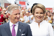 King Philippe of Belgium and Queen Mathilde of Belgium attend the 75th anniversary of the liberation of The Netherlands in Zeeland on August 31, 2019 in Terneuzen, Netherlands.