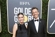 Host Seth Meyers (R) and Alexi Ashe attend The 75th Annual Golden Globe Awards at The Beverly Hilton Hotel on January 7, 2018 in Beverly Hills, California.