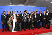 Outstanding Limited Series award for 'The Assassination of Gianni Versace: American Crime Story' winners, (3rd from L-R) Cody Fern, Judith Light, Penelope Cruz, Edgar Ramirez, Darren Criss, Ricky Martin, Ryan Murphy, Alexis Martin Woodall, (4th from L) Jon Jon Briones, Finn Wittrock, cast and crew pose in the press room during the 76th Annual Golden Globe Awards at The Beverly Hilton Hotel on January 6, 2019 in Beverly Hills, California.