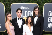 (L-R) Paris Brosnan (2ndL) and brother Dylan Brosnan and girlfriends attend the 77th Annual Golden Globe Awards at The Beverly Hilton Hotel on January 05, 2020 in Beverly Hills, California.