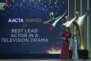Danielle Cormack and Emma Booth announce the AACTA Award for Best Lead Actor in a Television Drama during the 7th AACTA Awards Presented by Foxtel | Ceremony at The Star on December 6, 2017 in Sydney, Australia.