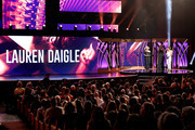 Kathie Lee Gifford (R) presents an award for Female Artist of the Year to Lauren Daigle during the 7th Annual K-LOVE Fan Awards at The Grand Ole Opry House on June 2, 2019 in Nashville, Tennessee.