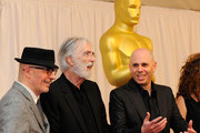 """(L-R) Directors Jacques Audiard """"A Prophet"""", Michael Haneke """"The White Ribbon"""", Yaron Shani """"Ajami"""" attend the Academy Awards Foreign Language Film Award directors photo op at the Kodak Theatre on March 5, 2010 in Hollywood, California."""