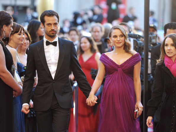 Actress Natalie Portman (R) and Benjamin Millepied  arrive at the 83rd Annual Academy Awards held at the Kodak Theatre on February 27, 2011 in Hollywood, California.