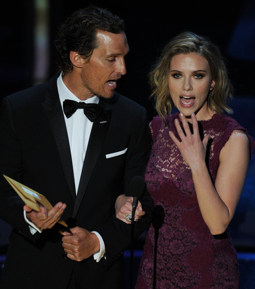 Presneters Matthew McConaughey and Scarlett Johannson speak onstage during the 83rd Annual Academy Awards held at the Kodak Theatre on February 27, 2011 in Hollywood, California.