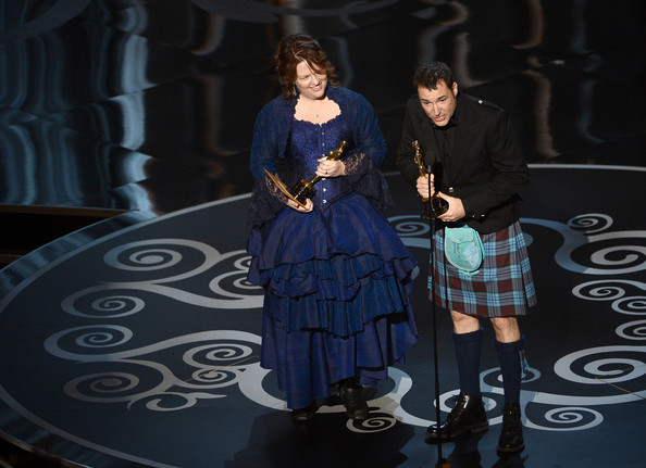 "Co-directors Brenda Chapman and Mark Andrews accept the Best Animated Feature Film award for ""Brave"" onstage during the Oscars held at the Dolby Theatre on February 24, 2013 in Hollywood, California."