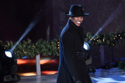 Ne-Yo smiles ononstage during his performance at the 87th Annual Rockefeller Center Christmas Tree Lighting Ceremony at Rockefeller Center on December 04, 2019 in New York City.