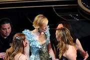 (L-R) Actresses Brie Larson, Cate Blanchett, and Kate Winslet in the audience during the 88th Annual Academy Awards at the Dolby Theatre on February 28, 2016 in Hollywood, California.