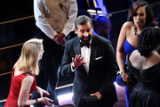 Actor Steve Carell (C) in the audience during the 88th Annual Academy Awards at the Dolby Theatre on February 28, 2016 in Hollywood, California.