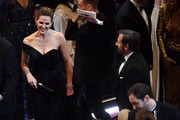 Actors Jennifer Garner and Steve Carell in the audience during the 88th Annual Academy Awards at the Dolby Theatre on February 28, 2016 in Hollywood, California.