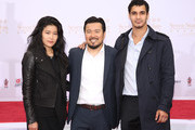 """Jadyn Wong, Justin Lin and Elyes Gabel attend the 88th Birthday Of TLC Chinese Theater IMAX, Honoring Justin Lin, Zhao Wei And Huang Xiaoming with Iconic Imprint Ceremony"""" at TCL Chinese Theatre on June 3, 2015 in Hollywood, California."""