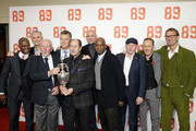 "(L-R)  Paul Davis, Alan Smith, a guest, David O'Leary, George Graham, Steve Bould, Michael Thomas, Perry Groves, Lee Dixon and Tony Adams attend the ""89"" World Premiere held at Odeon Holloway on November 8, 2017 in London, England."