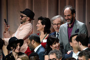 (L-R) Director JR, editor Tatiana S. Riegel, filmmaker Steven Spielberg and director Luca Guadagnino attend the 90th Annual Academy Awards Nominee Luncheon at The Beverly Hilton Hotel on February 5, 2018 in Beverly Hills, California.