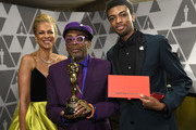 (L-R) Tonya Lewis Lee; Spike Lee, winner of Adapted Screenplay for ''BlacKkKlansman'; and Jackson Lee attend the 91st Annual Academy Awards Governors Ball at Hollywood and Highland on February 24, 2019 in Hollywood, California.
