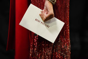 In this handout photo provided by A.M.P.A.S. Jane Fonda holds the Best Picture envelope backstage during the 92nd Annual Academy Awards at the Dolby Theatre on February 09, 2020 in Hollywood, California.
