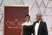 (L-R) Tamron Hall and Elvis Mitchell attend the 92nd Annual Academy Awards at Hollywood and Highland on February 09, 2020 in Hollywood, California.