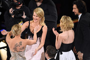 (L-R) Scarlett Johansson, Laura Dern, Joanne Tucker, and Adam Driver attend the 92nd Annual Academy Awards at Hollywood and Highland on February 09, 2020 in Hollywood, California.