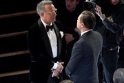 (L-R) Tom Hanks and Leonardo DiCaprio attend the 92nd Annual Academy Awards at Dolby Theatre on February 09, 2020 in Hollywood, California.