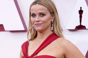 LOS ANGELES, CALIFORNIA – APRIL 25: Reese Witherspoon, earing detail, attends the 93rd Annual Academy Awards at Union Station on April 25, 2021 in Los Angeles, California.