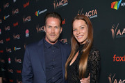 (L-R) Jason Lewis and Liz Godwin attend the 9th Annual Australian Academy Of Cinema And Television Arts (AACTA) International Awards at SkyBar at the Mondrian Los Angeles on January 03, 2020 in West Hollywood, California.