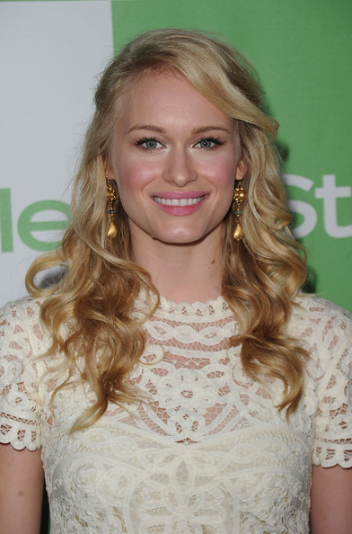 Leven Rambin wore Russian gold plated hammered brass bead and genuine aquamarine drop earrings.