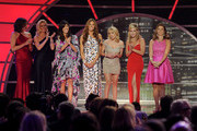 TV personalities (L-R) LuAnn de Lesseps, Alex McCord, Cindy Barshop, Kelly Bensimon, Ramona Singer, Sonja Morgan and Jill Zarin speak onstage at the 9th Annual TV Land Awards at the Javits Center on April 10, 2011 in New York City.