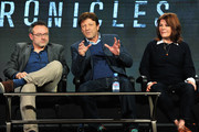 Writer and director Benjamin Ross, actor Sean Bean and producer Tracey Scoffield attend The Frankenstein Chronicles panel during the A+E Networks 2016 Television Critics Association Press Tour at The Langham Huntington Hotel and Spa on January 6, 2016 in Pasadena, California.