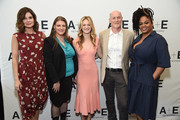 (L-R) Actor Betsy Brandt, Flint resident/activist Melissa Mays, actor Marin Ireland, executive producer Neil Meron, and actor Jill Scott of 'Flint' at the Lifetime and A+E Networks portion of the 2017 Summer Television Critics Association Press Tour at The Beverly Hilton Hotel on July 28, 2017 in Beverly Hills, California.