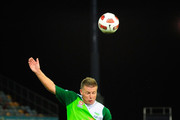 Ufuk Talay of the Fury contests the ball with Leigh Broxham of the Victory during the round seven A-League match between the North Queensland Fury and the Melbourne Victory at Dairy Farmers Stadium on September 18, 2010 in Townsville, Australia.
