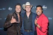 """Luke Bryan, Jon Pardi and  Lionel Richie attend ABC's """"American Idol"""" Finale on May 19, 2019 in Los Angeles, California."""