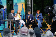"(L-R) Michael Strahan, Lara Spencer, George Stepanopoulos and Robin Roberts during ABC's ""Good Morning America"" Live From Philadelphia broadcast at the steps of the Philadelphia Art Museum on June 13, 2019 in Philadelphia, Pennsylvania."