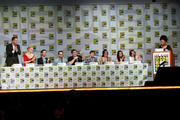 "(L-R) Actors Josh Dallas, Jennifer Morrison, Colin O'Donoghue, writer/producer Edward Kitsis, writer/producer Adam Horowitz, actors Jared Gilmore, Lana Parrilla, Emilie de Ravin, Robert Carlyle and moderator Yvette Nicole Brown attend ABC's ""Once Upon A Time"" panel during Comic-Con International 2014 at San Diego Convention Center on July 26, 2014 in San Diego, California."