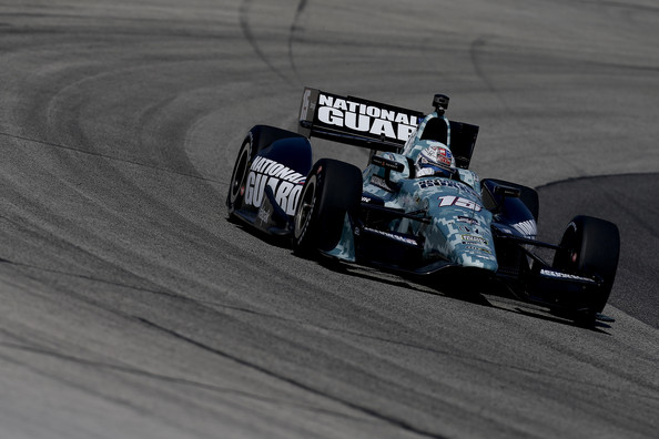 Graham Rahal, driver of the #15 National Guard Honda, drives during practice for the ABC Supply Wisconsin 250 at The Milwaukee Mile on August 16, 2014 in West Allis, Wisconsin.