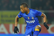 Patrice Evra of Juventus in action during the Serie A match between AC Cesena and Juventus FC at Dino Manuzzi Stadium on February 15, 2015 in Cesena, Italy.