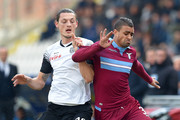 Milan Djuric of Cesena and Mauricio of Lazio in action during the Serie A match between AC Cesena and SS Lazio at Dino Manuzzi Stadium on February 1, 2015 in Cesena, Italy.